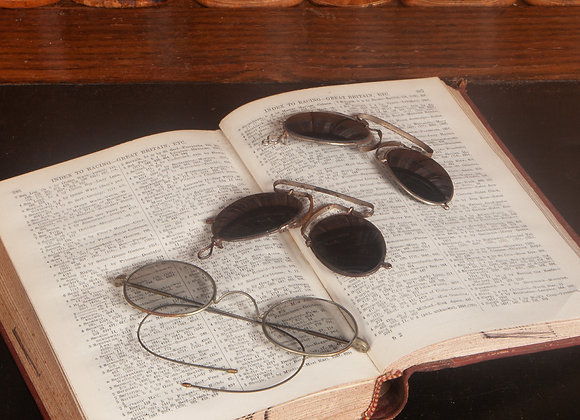 3 Pairs of Victorian Spectacles with Tinted Lenses