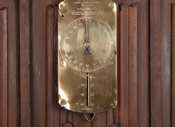 Victorian Hanging Brass Spring Scale