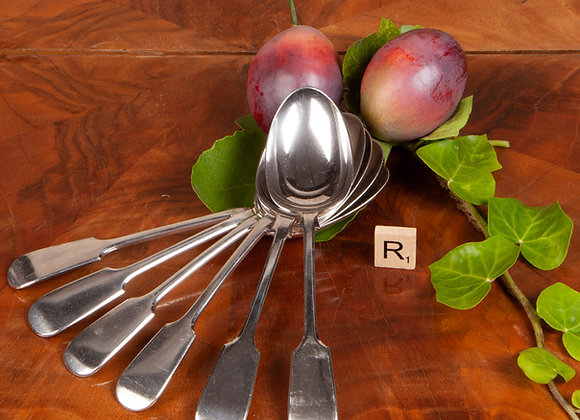 Six Late Victorian Dessert Spoons
