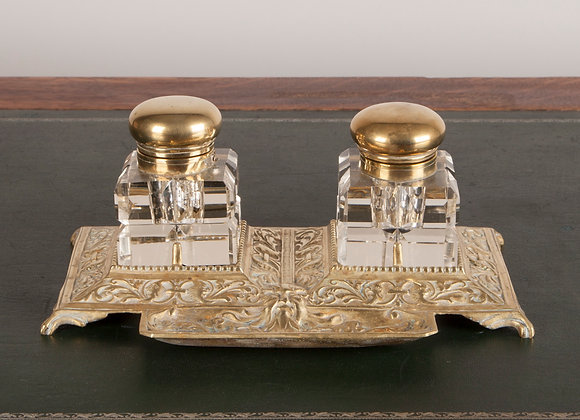 Large Victorian Ornate Double Inkwell