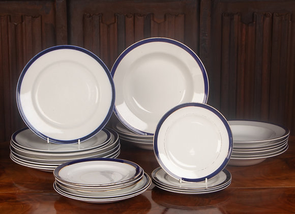 Early 20th Century Blue and Gold Edged Dinner Plates and Tea Plates