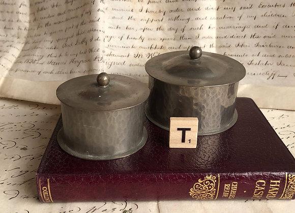 Small Lidded Pewter Desk Pots