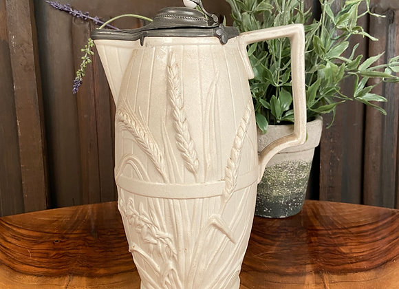 Large Victorian Stoneware Jug with Pewter Lid