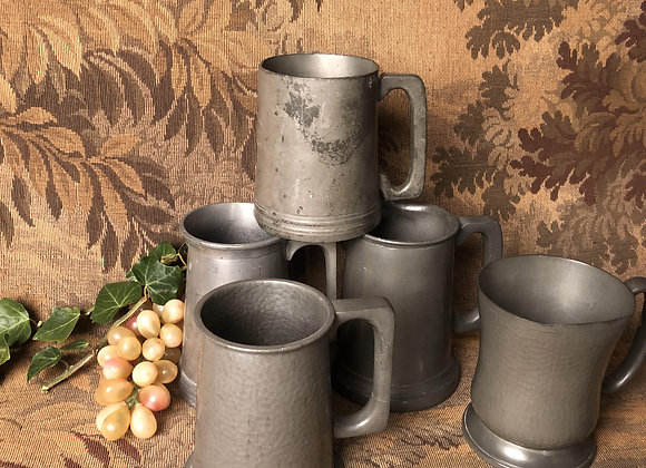 Five Pewter 1 Pint Tankards