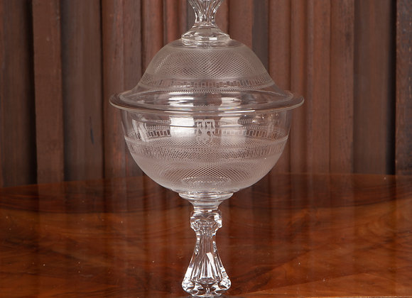 A Late Victorian Cut Glass Lidded Bowl or Sweet Jar