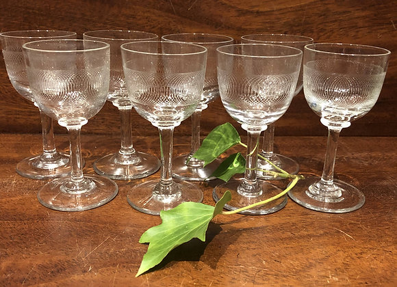 Eight Engraved Liqueur Glasses