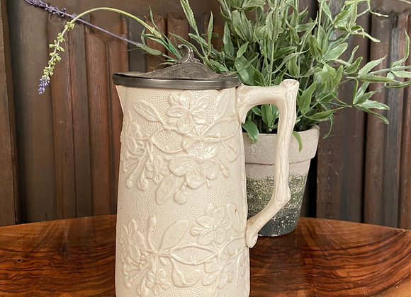 Victorian Stoneware Jug with Pewter Lid