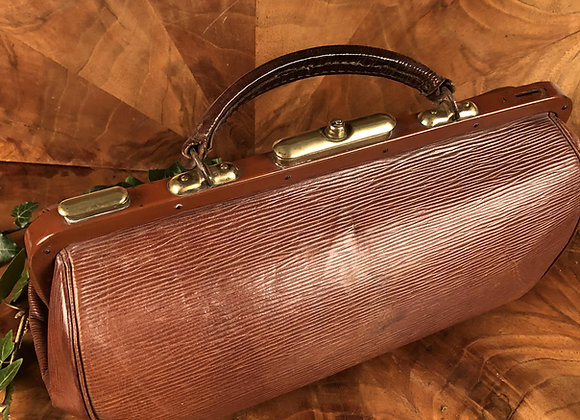 Leather Gladstone Bag with Brass Fittings