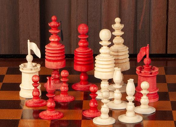 A Large Georgian Ox Bone Chess Set