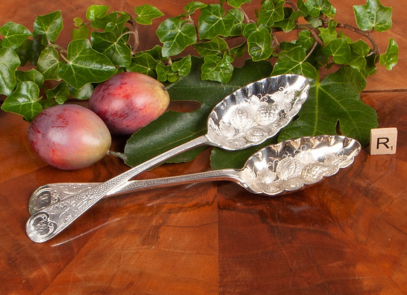 Pair of Victorian Silver Plated Berry Spoons