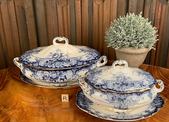 Pair of Victorian Ironstone Tureens with Stands