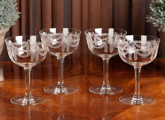 4 Edwardian Engraved Champagne Glasses