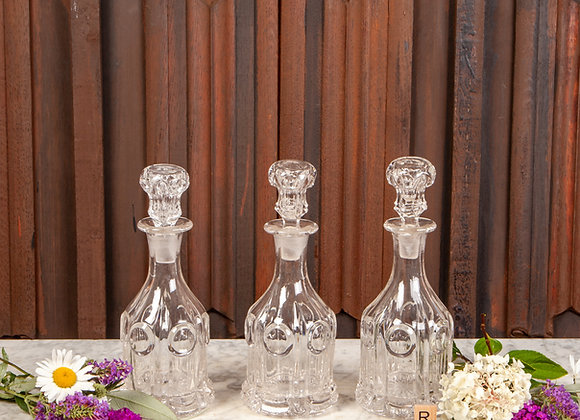Set of Three Molded Glass Decanters c1890