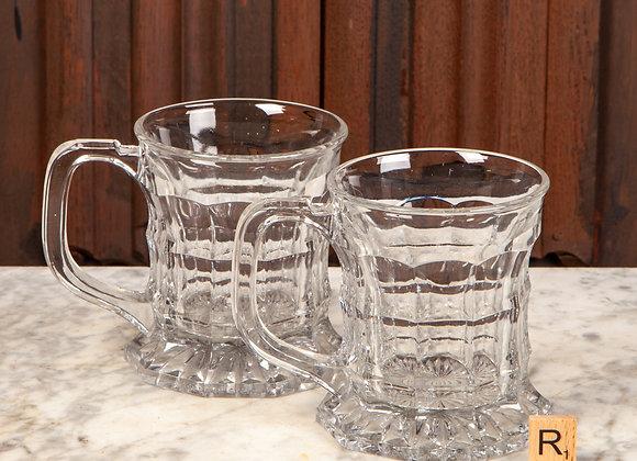 Pair of Victorian Pub Glass Tankards c1890