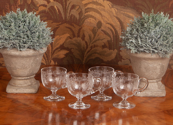 A set of 4 Victorian Engraved Custard Cups