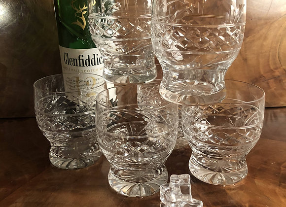 Cut Crystal Waisted Whisky Glasses