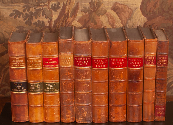 10 x Victorian Leather Bound Law Books