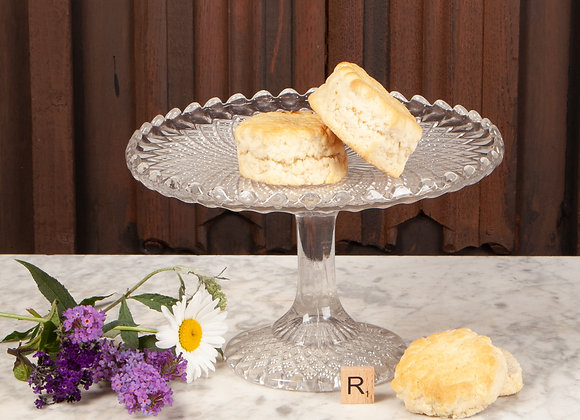 Victorian Glass Cake Stand with Scalloped Edge