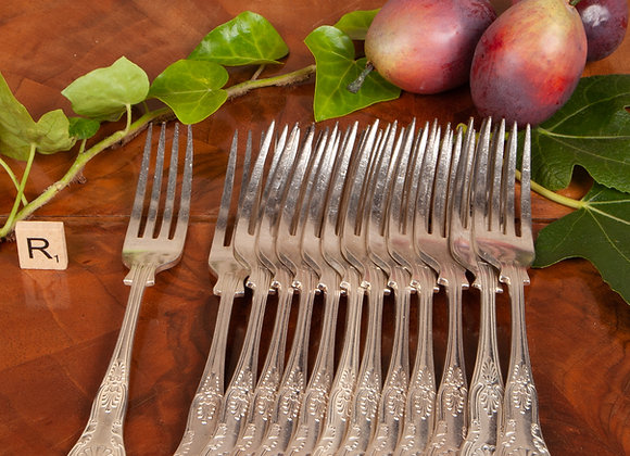 12 Late Victorian Silver Plated Dinner Forks
