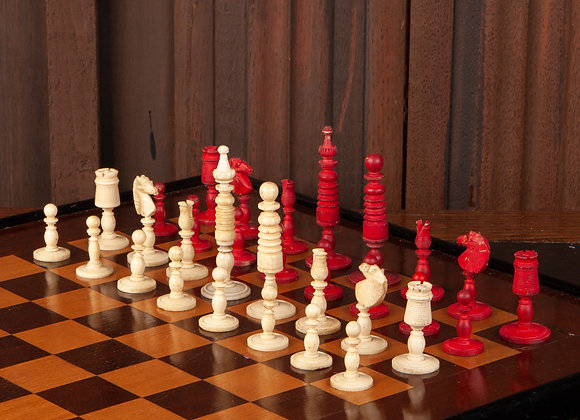 A Georgian Ox Bone Chess Set