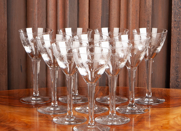 A Set of 10 Early 20th Century Val St Lambert Glasses