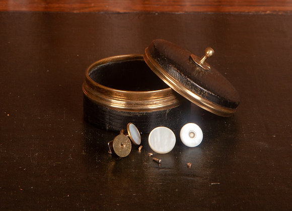Late Victorian Leather Covered Stud Box
