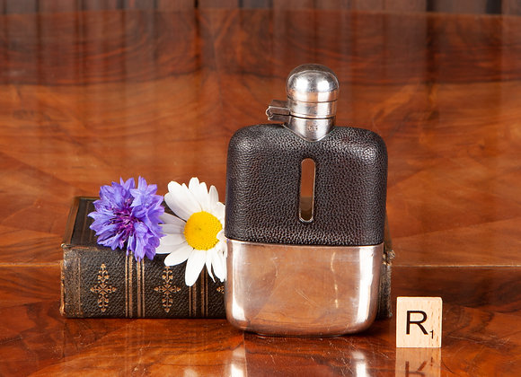 Edwardian Silver Plated Hip Flask