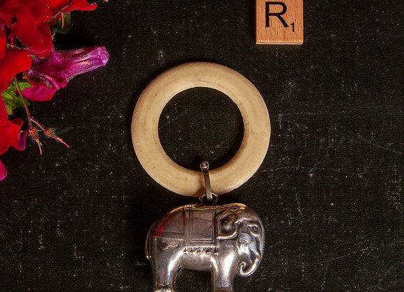 Edwardian Baby's Rattle with Teething Ring in the Shape of an Elephant