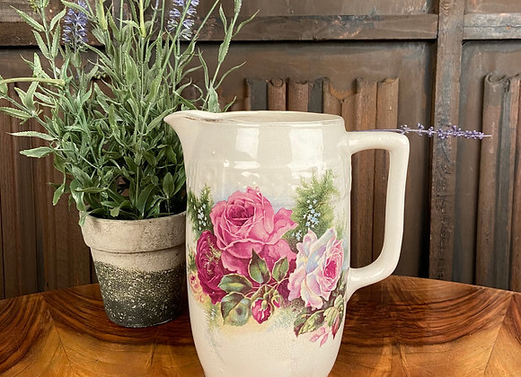 Ironstone Jug with Floral Decoration