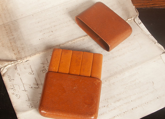 Large Early 20th Century Pig Skin Leather Cigar Case