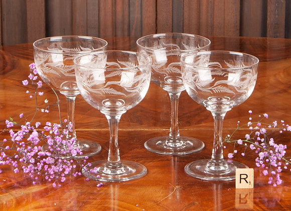Four Victorian Fern Engraved Champagne Coupes