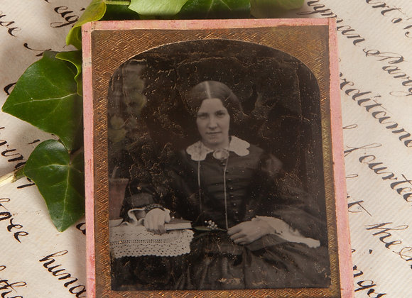 An Early Victorian Ambrotype Photograph of a Young Lady with a Book