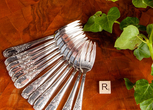 Set of 12 Early 20th Century Silver Plated Cake Forks