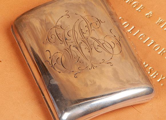 A Silver Plated Late Victorian Cigarette Case