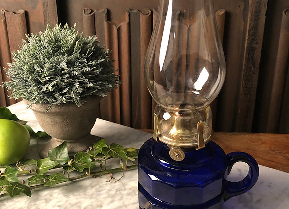 Oil Lamp with Bristol Blue Glass Base