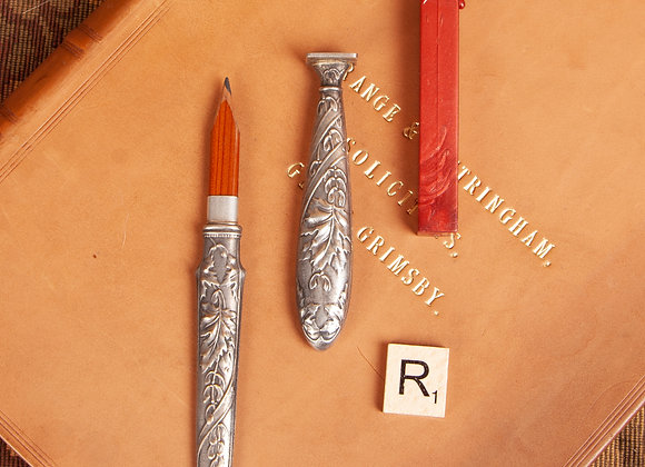 A Victorian Silver Plated Desk Seal and Travelling Pencil
