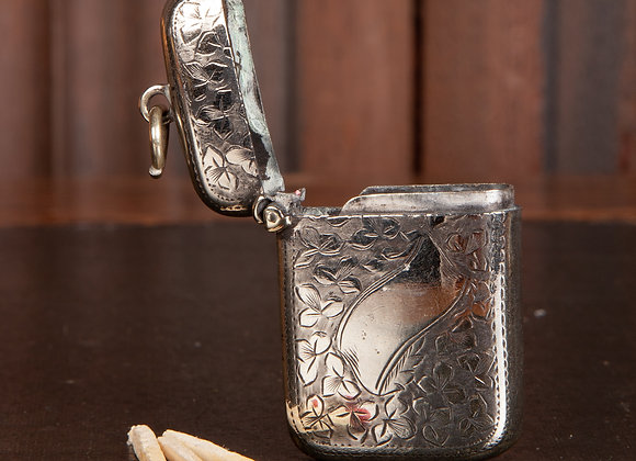 A Small Victorian Silver Plated Vesta Case