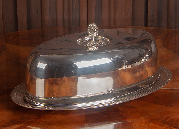 A Large Early 20th Century Silver Plated Food Dome or Cloche and Plate