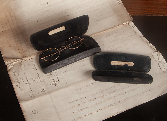Victorian Metal rimmed spectacles in case