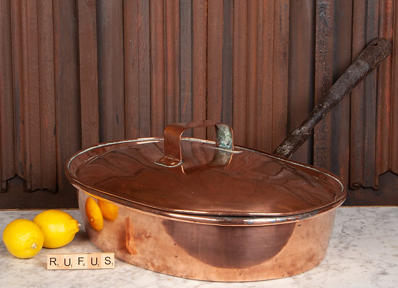 Very Large Shallow Copper Pan with Lid