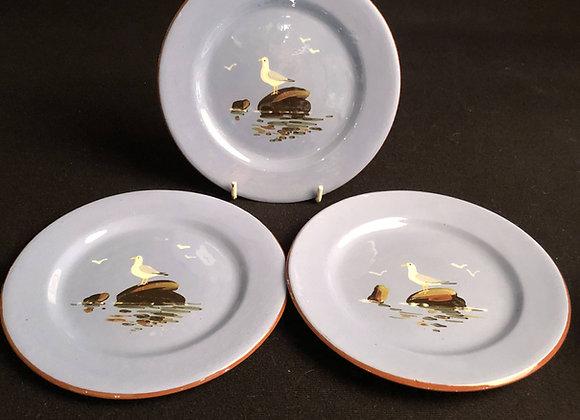 Three Dartmouth Pottery Seagull Tea Plates
