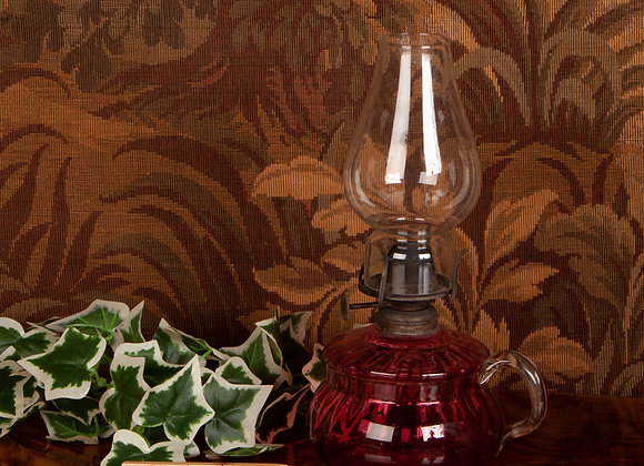Late Victorian Cranberry Glass Oil Lamp