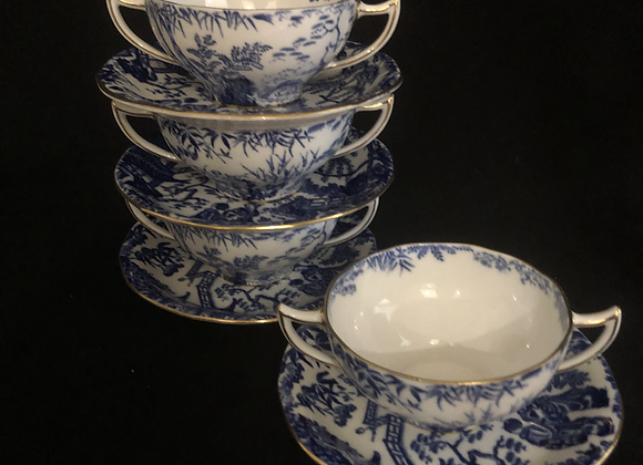 Royal Crown Derby Two Handled Bowls and Saucers