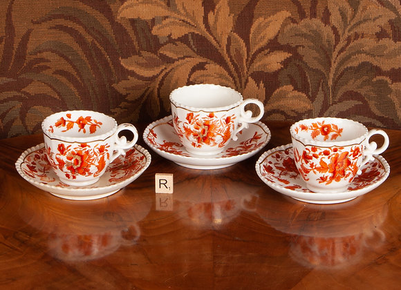 Three Victorian Coffee Cups and Saucers