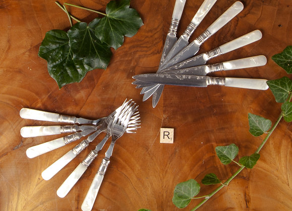 Set of Six Victorian Cake Knives and Forks