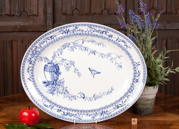 Large Victorian Blue and White Serving Plate