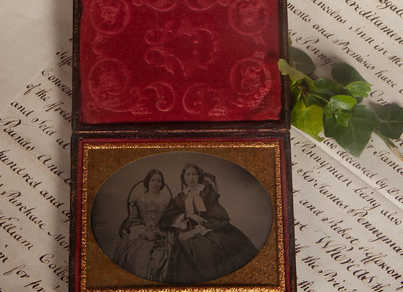 An Early Victorian Ambrotype Photograph of a Mother and Daughter