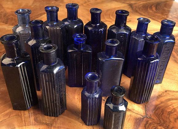 Small  Blue Poison Bottle