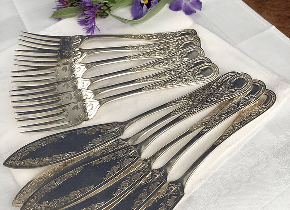 Silver Plated Victorian Fish Knives and Forks