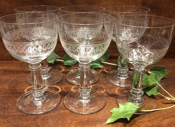 Set of Six Large Goblets